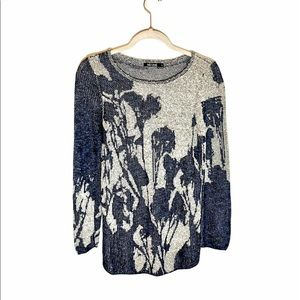 NIC+ZOE Blue Floral Knit Tunic
